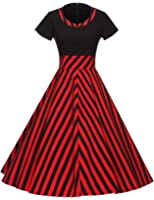 GownTown Women1950s Printed -Dot-Floral Splicing Party Swing Dress