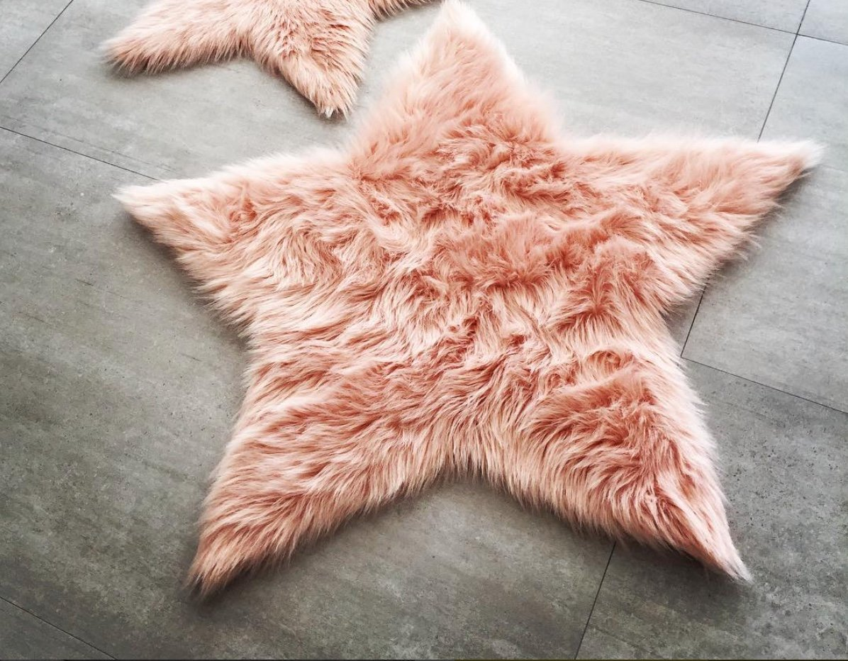 Machine Washable Faux Sheepskin Blush Star Area Rug 3' x 3' - Soft and silky - Perfect for baby's room, nursery, playroom (Star Large Blush)
