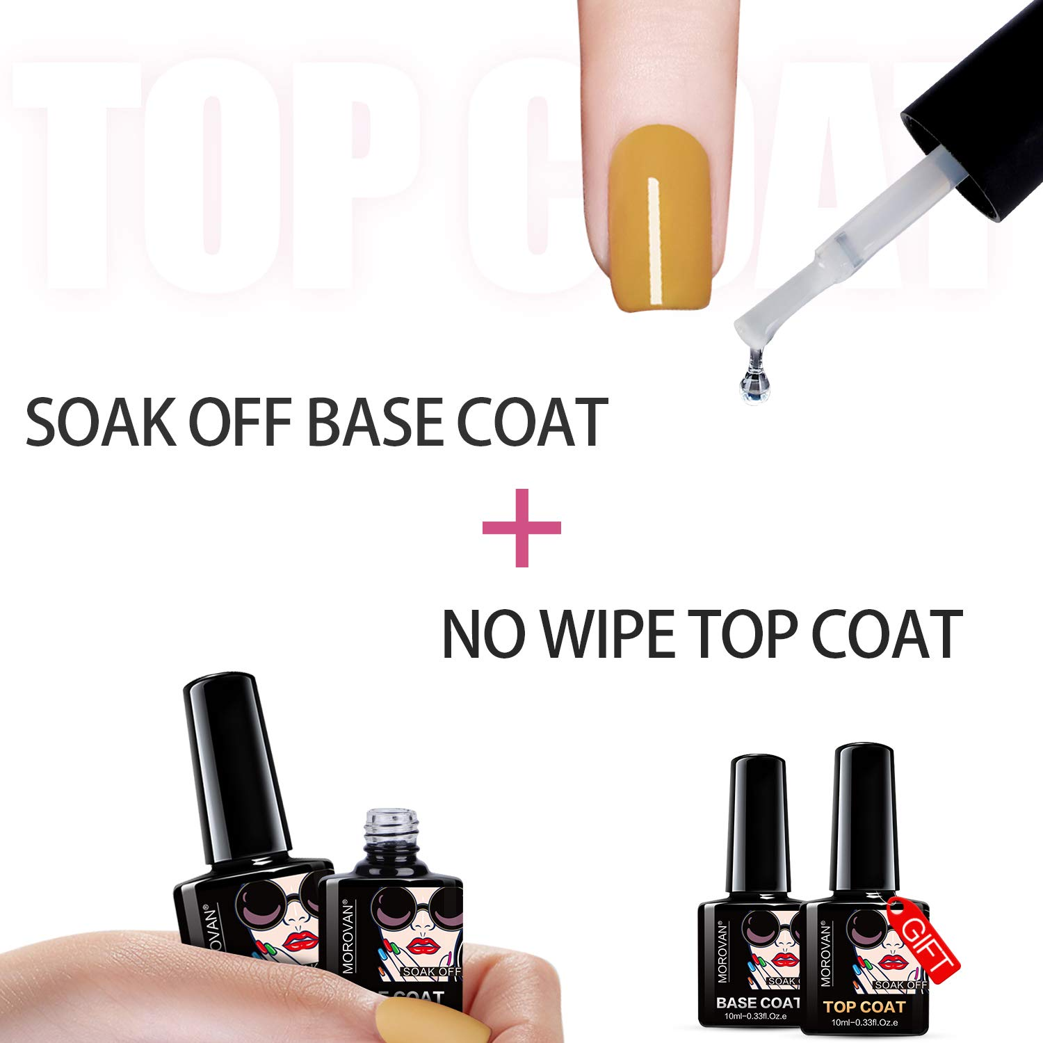 Morovan Gel Base And Top Coat Set - 4 Pcs UV LED Nail Polish Primer and No Wipe Top Coat Gel Nails Sets Quick Dry Long Lasting Clear Gels Manicure Care Kit Gifts for Women Nail Home : Beauty