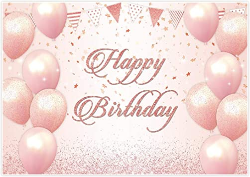 Pink Happy Birthday Party 1st  Background Girls Balloon Photo Backdrop Banner