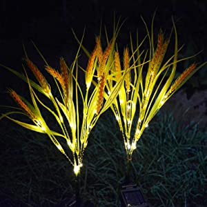 Homeleo 2 Pack Solar Wheat Lights, Waterproof Garden Decorative Straw Lamps Stake, Farmhouse Artificial Flowers for Outdoor Thanksgiving Decorations Driveway Yard Pathway Landscape Flowerbed Decor