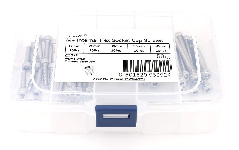 Fully Threaded DM420405221 iExcell 50 Pcs M4 x 20mm//25mm//30mm//35mm//40mm Stainless Steel 304 Internal Hex Drive Socket Cap Screws Kit