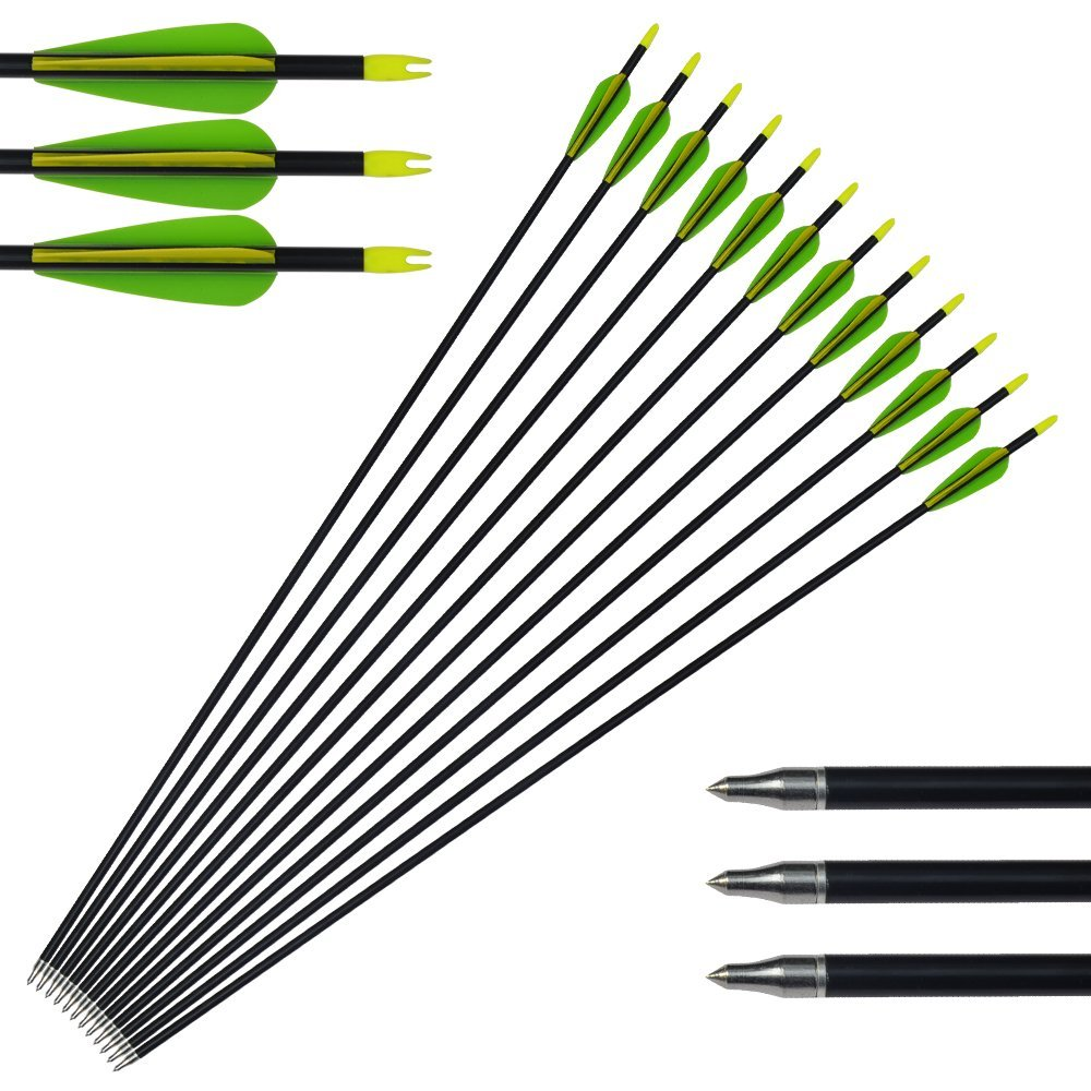 12pack Archery Aluminum Arrows Hunting Bow Arrows 300 Spine with Changeable Tips for Compound and Recurve Bow Tongtu Outdoor