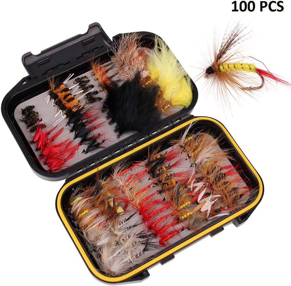 ALLOMN 40//72//100//120 PCS Fly Fishing Dry Flies Fishing Lures Fishing Flies Set Fly Fishing Lures Assortment Kit 5 Different Flies with Waterproof Box
