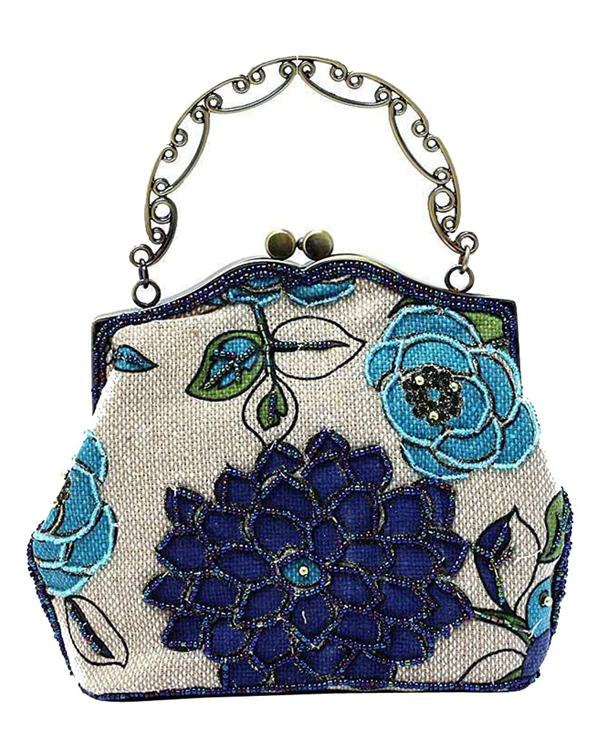 Edwardian Gloves, Handbag, Hair Combs, Wigs ILISHOP Womens Vintage Luxury Printing Beaded Women Handbag Evening Bag $19.99 AT vintagedancer.com