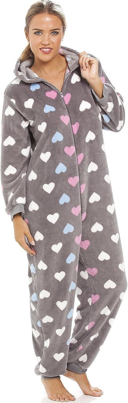 Sehr weich CAMILLE Damen Schlafanzug-Overall mit Buntem Herzmuster Grau