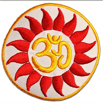 Om Symbol spirituell Hindu Meditation Ø8,4 cm orange Aufnäher // Bügelbild