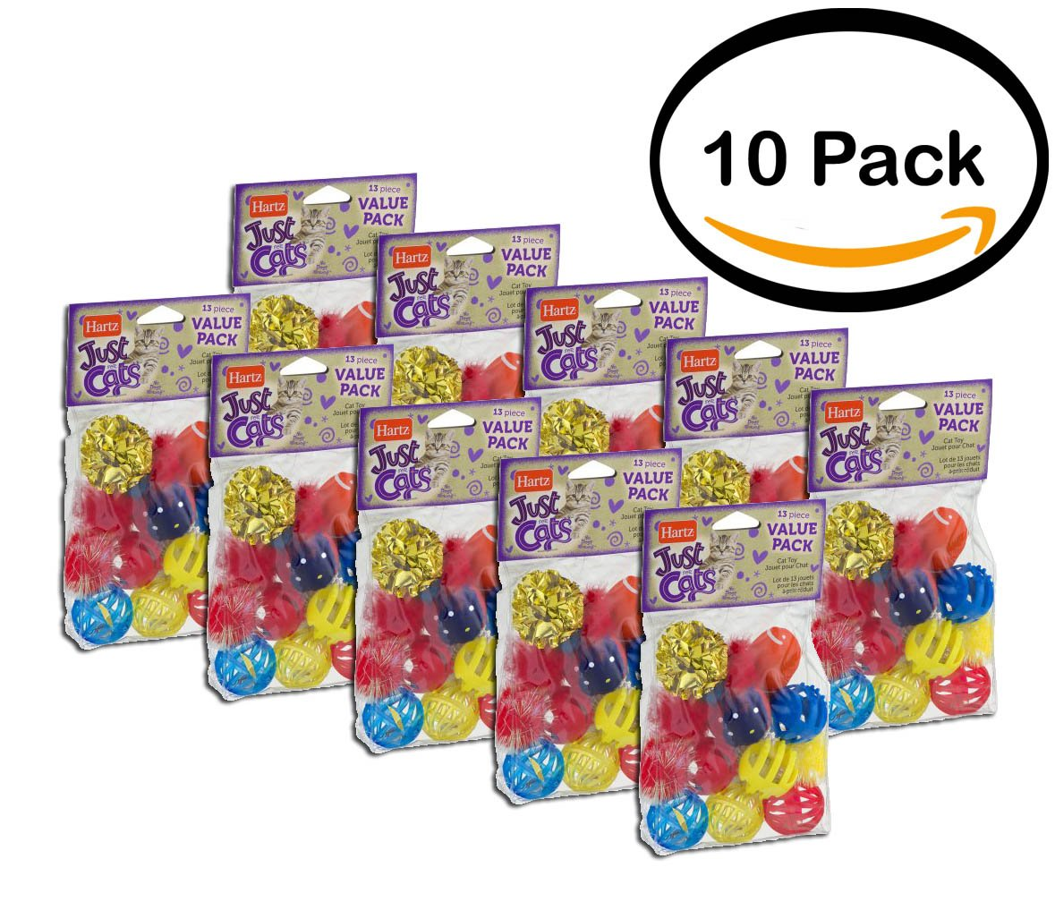 PACK OF 10 - Hartz Just For Cats Cat Toys Value Pack, 13ct