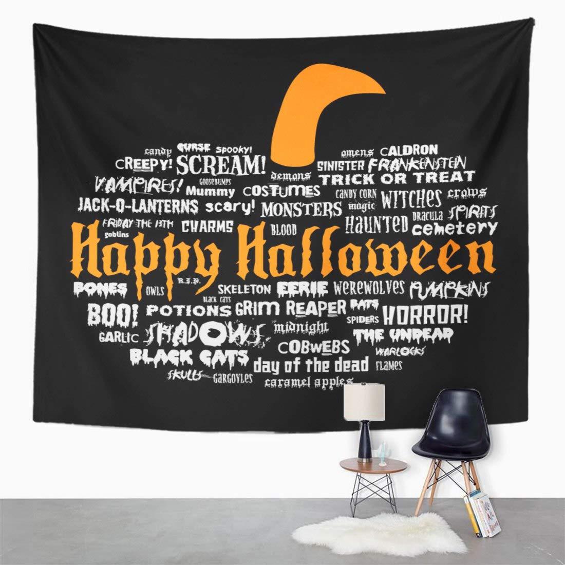 Emvency Wall Tapestry Treat Happy Halloween Scary Words in The Shape of Pumpkin on Black Trick Frankenstein Haunted Magic Spooky Bats Blood Decor Wall ...