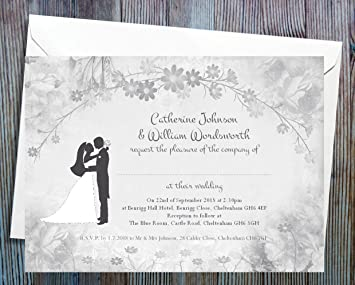Wedding Invitations Pack Of 50 Personalised For Day Or Evening