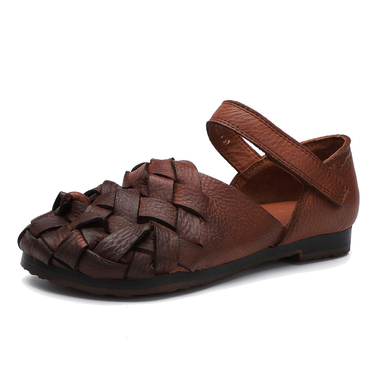 Marron Femmes Sandales en Cuir véritable Confortables et et décontractées Chaussures à Talon Bas tissées à la Main Chaussures Plates à Bouts Ronds Velcro Printemps et été  dégagement jusqu'à 70%