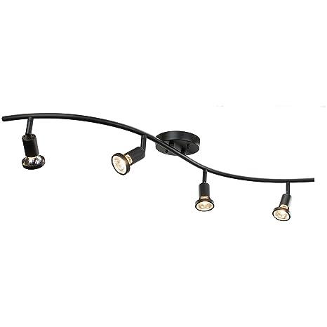 best loved 2cc23 9fa03 DnD 4-Light Adjustable Track Lighting Kit - GU10 Halogen Bulbs Included.  CE2001-BZ (Black)