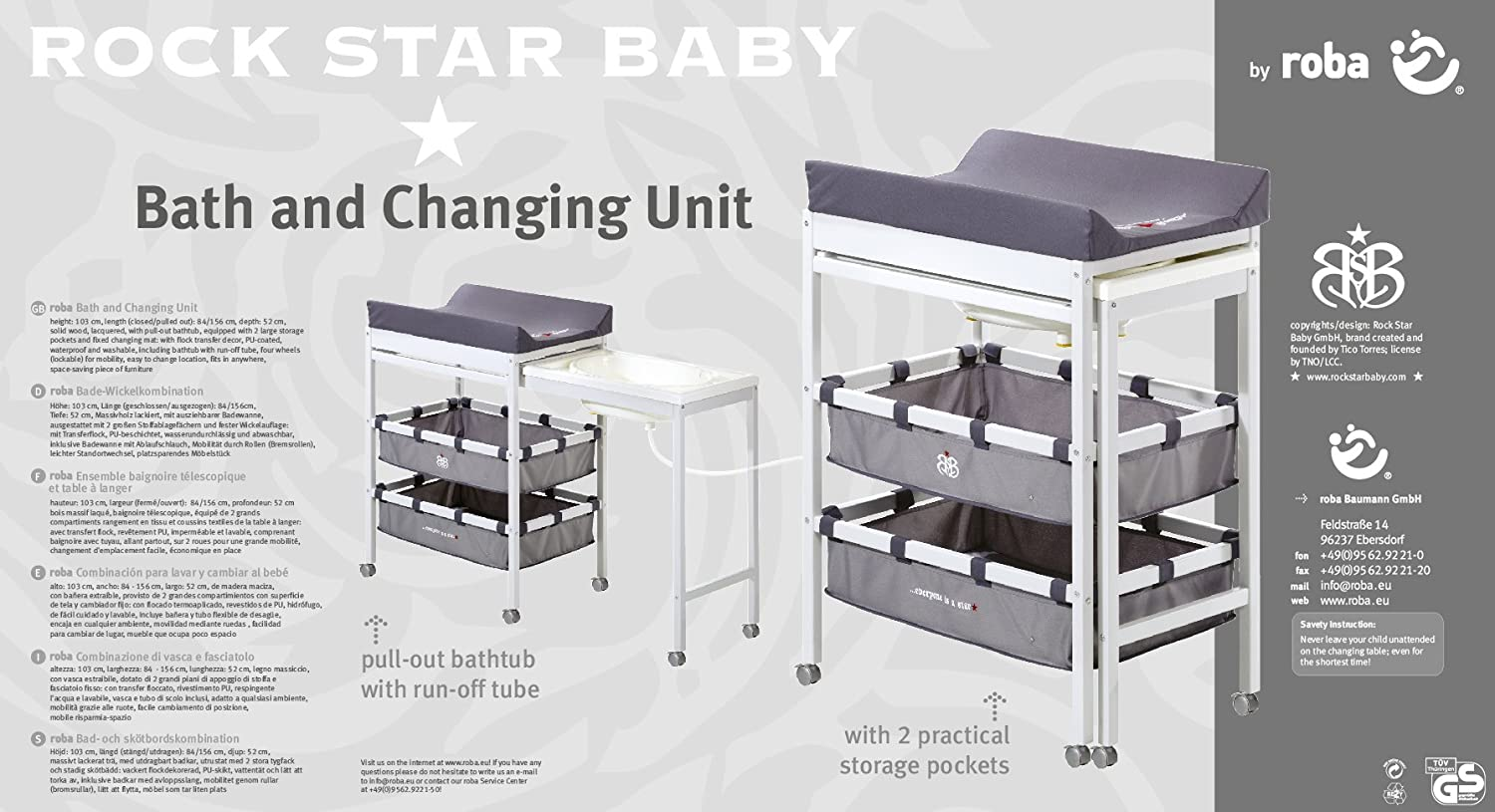 Amazon.com : Bath and Changing Table Combo Rock Star Baby, Painted Grey : Baby