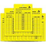 Monthly Fire Extinguisher Inspection Tags - [25 Pack] for Indoor Or Outdoor Fire Extinguishers, 4-Year Inspecting Record [202