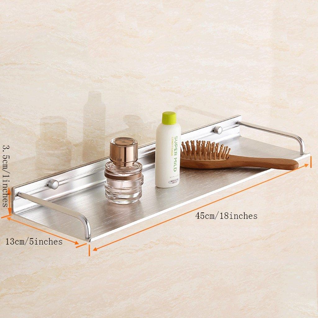 YXN Space Aluminum Bathroom Frame Bathroom Solid Thick Metal Pendant Bathroom Single Layer Bathroom Shelf Wall Mount (Size : 45cm)