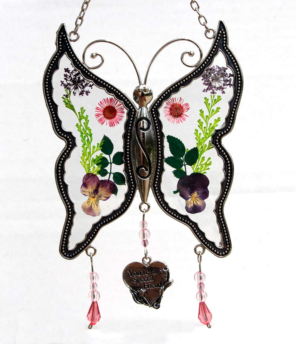 Special Friend New Butterfly Suncatchers Glass Friend Wind Chime with Pressed Flower Wings Embedded in Glass with Metal Trim Friend Heart Charm - Gifts for Friend -Friend for Birthdays Christmas
