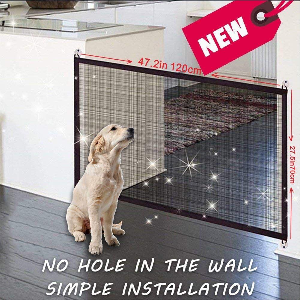 Magic Gate port/átil protecci/ón de seguridad plegable e instalaci/ón en todas partes perro de la puerta del perro puerta cerca de perro valla de gato cerca 120/×70cm