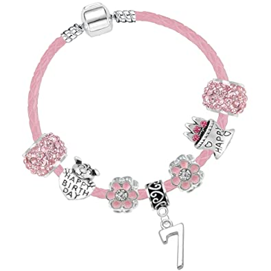 ece585e4a Girls 7th Birthday 16cm Sparkly Pink Leather Birthday Charm Bracelet with Gift  Box and Card: Amazon.co.uk: Jewellery