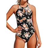 CUPSHE Women's One Piece Swimsuit Floral Print High Neck Scallop Bathing Suit