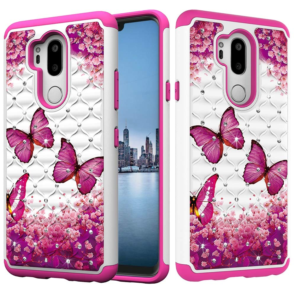 for Phone Cases Cover, Flowers Butterfly Owl Pattern Bling Glitter Diamond 2 in 1 Dual Layer Armor Defender Hybrid Heavy Duty Shockproof Protective Case Cover for LG G7 ThinQ/LG G7 (Pattern : 6) JINXIUS Store