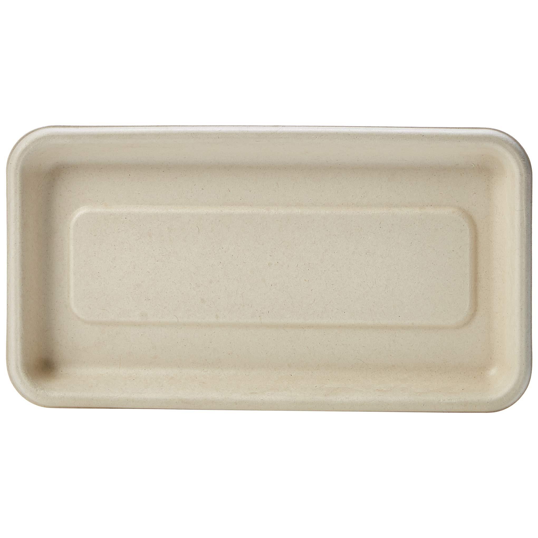 AmazonBasics Compostable Mini Tray, 8.3 x 4.5 x 0.6 Inches, Kraft, 500 Trays