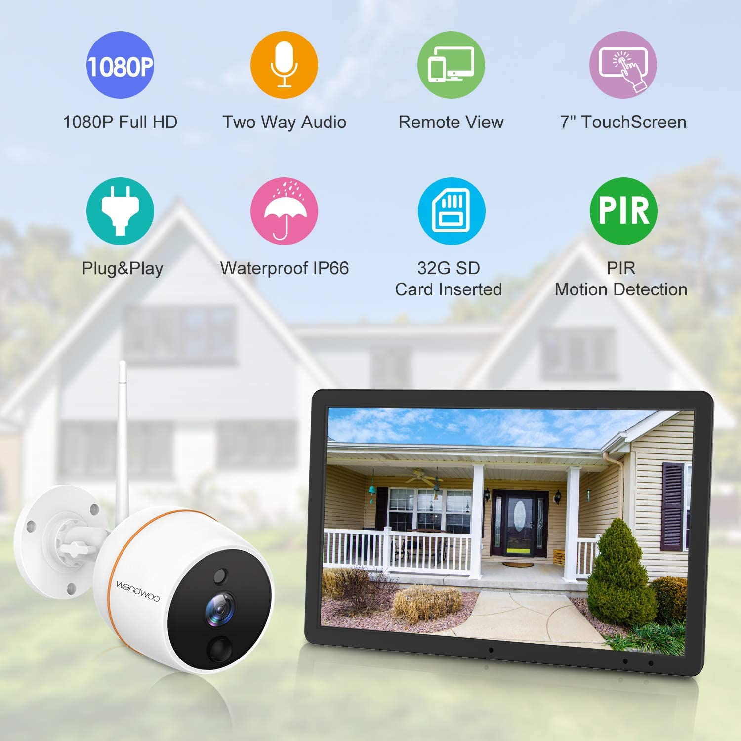 Wireless Security Camera System with 2 Way Audio, Wandwoo 1PC 1080P Outdoor Cameras 7Inch Touchscreen Monitor with 32G SD Card, Indoor Outdoor Home Surveillance Cameras Systems