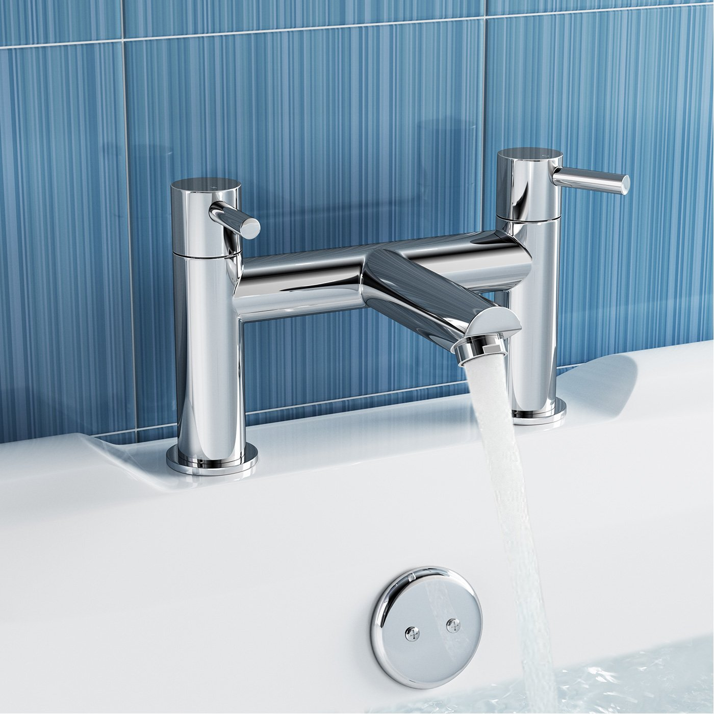 iBathUK Modern Chrome Bath Filler Mixer Tap Designer Bathroom Tub ...
