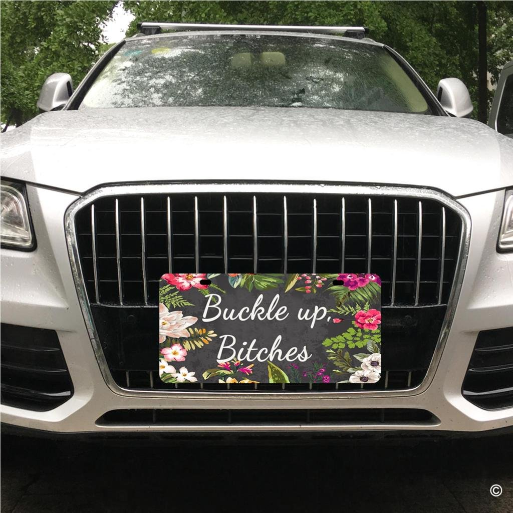 Bitches Designed Decorative Metal Car License Plate Auto Tag MsMr Funny License Plate Cover with 2 Holes Buckle Up