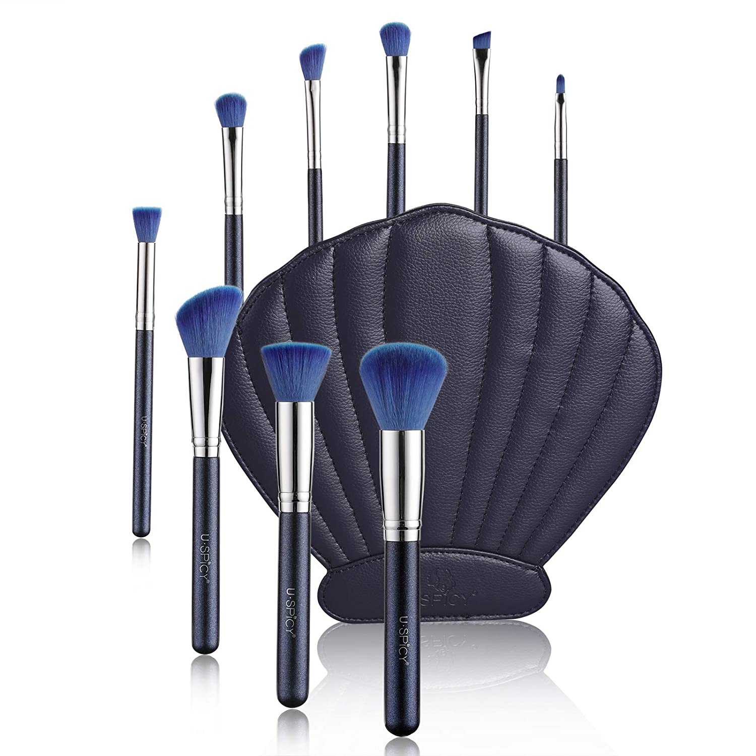 Makeup Brushes, USpicy 10 Pieces Professional Makeup Brush Set with Seashell Shaped PU Leather Case (Soft Synthetic Fiber for Uniform Application of Blush, Creams, Liquids, Contouring & Powders)-Blue