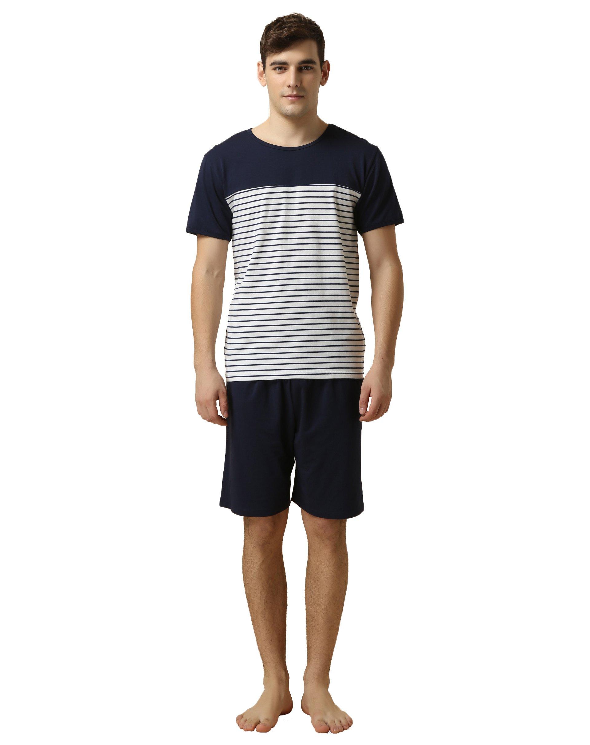 Suntasty Herren Zweiteiliger Schlafanzug Shorty Pyjama Kurzer Schlafanzug Baumwolle Gestreiftes Oberteil Uni Hose Rundhals Anzug Nachtwäsche (Blau,L,1012M)