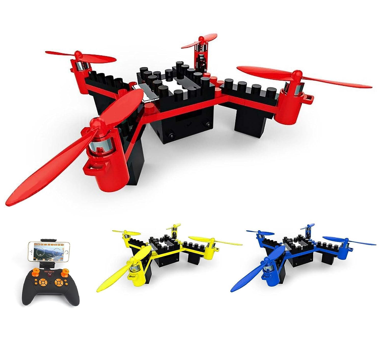 4.5 Kanal RC ferngesteuerter Quadcopter aus Bausteinen, eingebaute FPV Wifi Kamera mit Live-Übertragung auf Smartphone, DIY Drohne Modellbau, Komplett-Set inkl. Fernsteuerung, Akku, Ladekabel