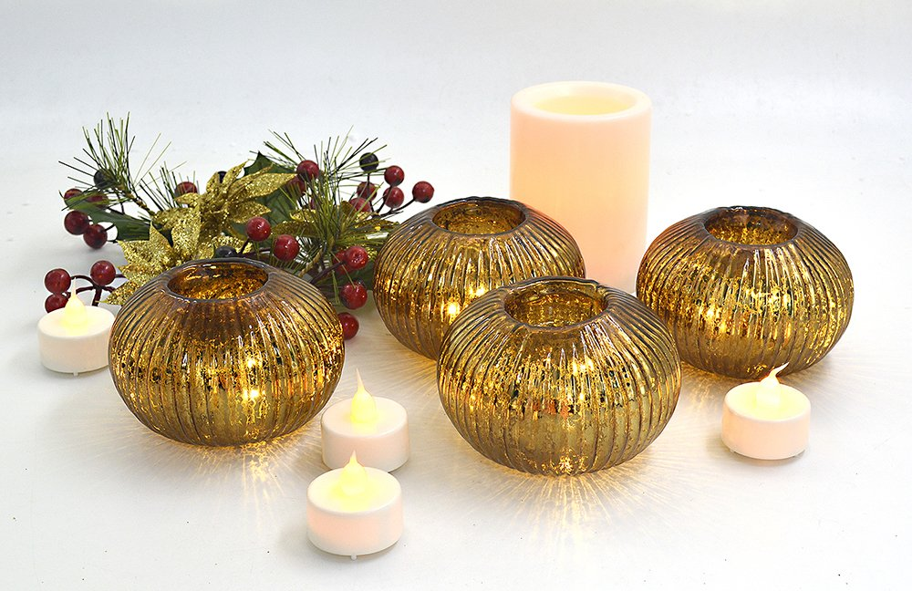 Dolucky Illuminated Mercury Glass Votive Candle Holder Set of 4 Chocolate