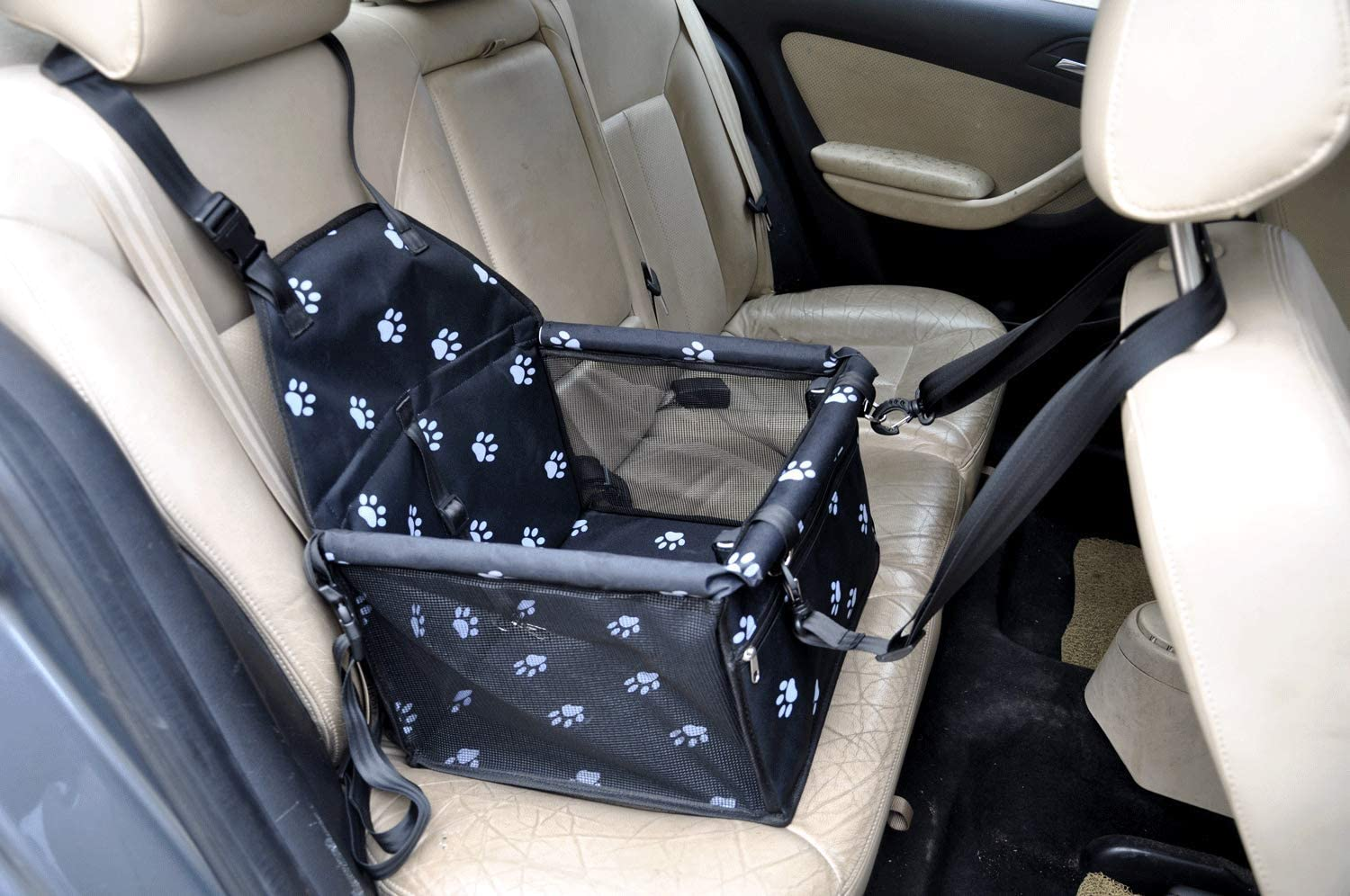 Cutequeen Black Car Booster Seat for Cat Dog