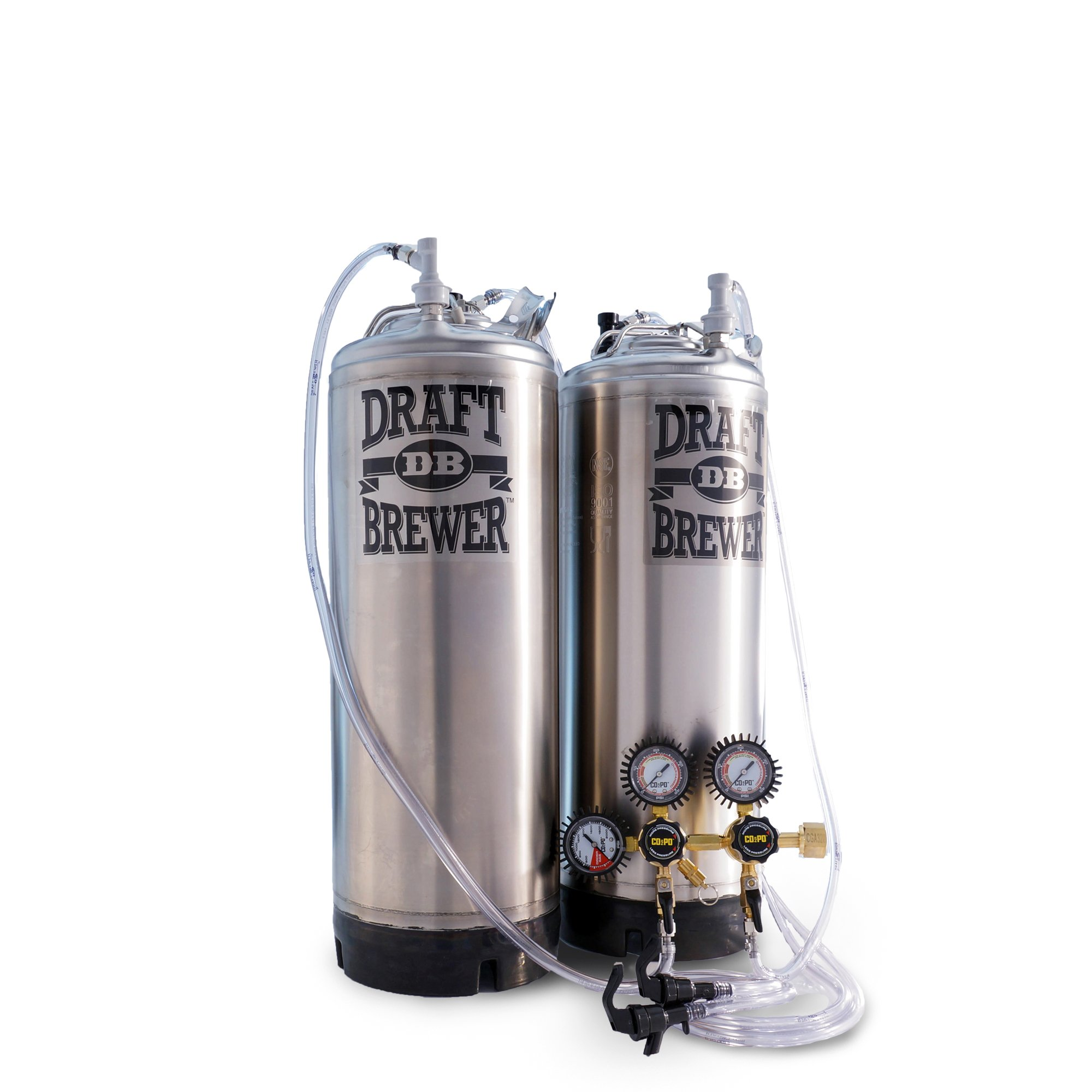 Draft Brewer Flex Homebrew Kegging System for Home Brew Beer - 2 New Ball Lock Kegs w/ Double Body CO2 Regulator