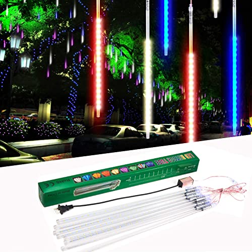 suily Meteor Shower Light, 50cm 8 Tube LED Falling Rain Drop Icicle String Lights for Christmas Tree Halloween Decoration Holiday Party Wedding 50cm, Colorful