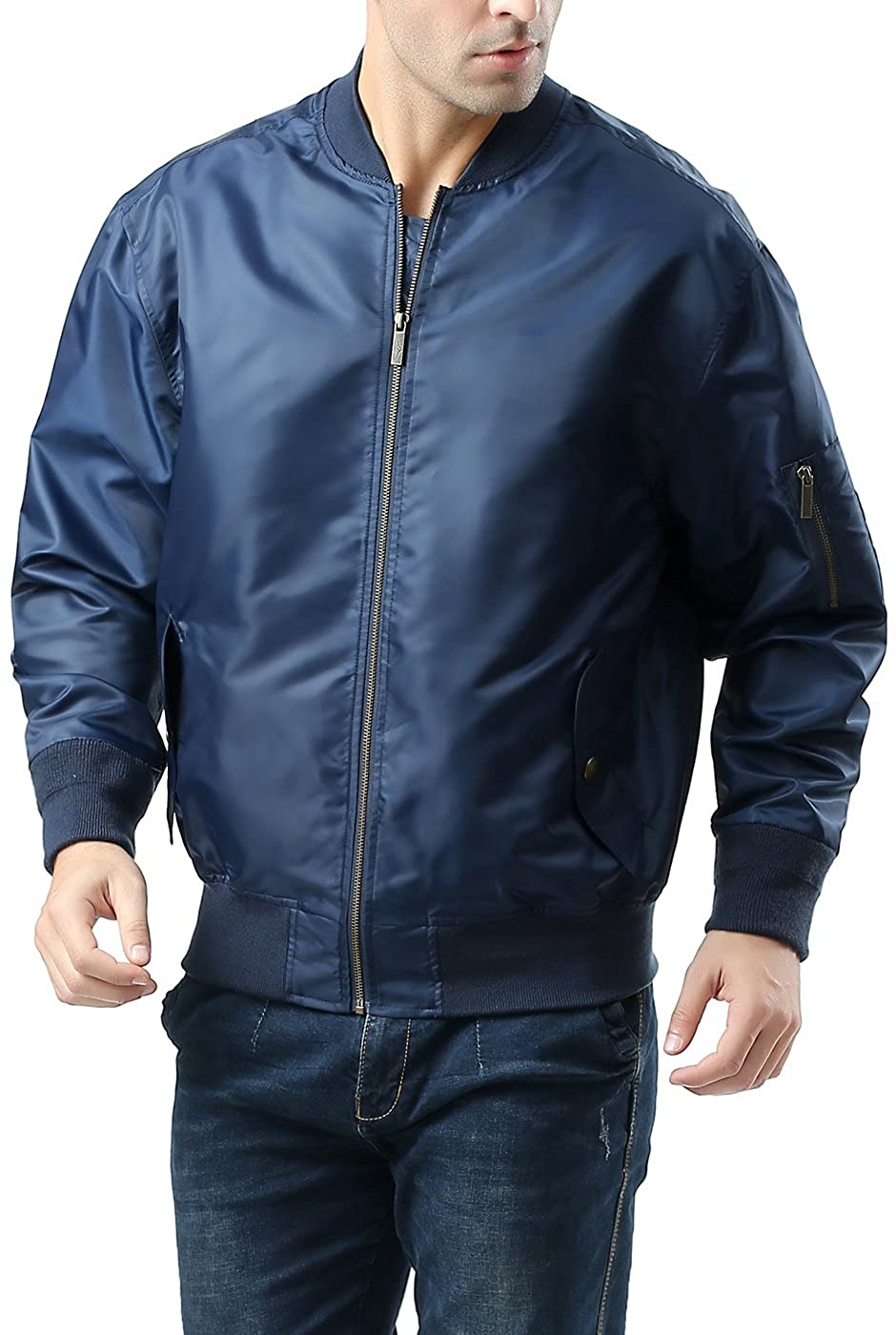 ... 4d70a dab52 Landing Leathers Men s Air Force MA-1 Bomber Jacket - Navy  M ... ae4ae09aced