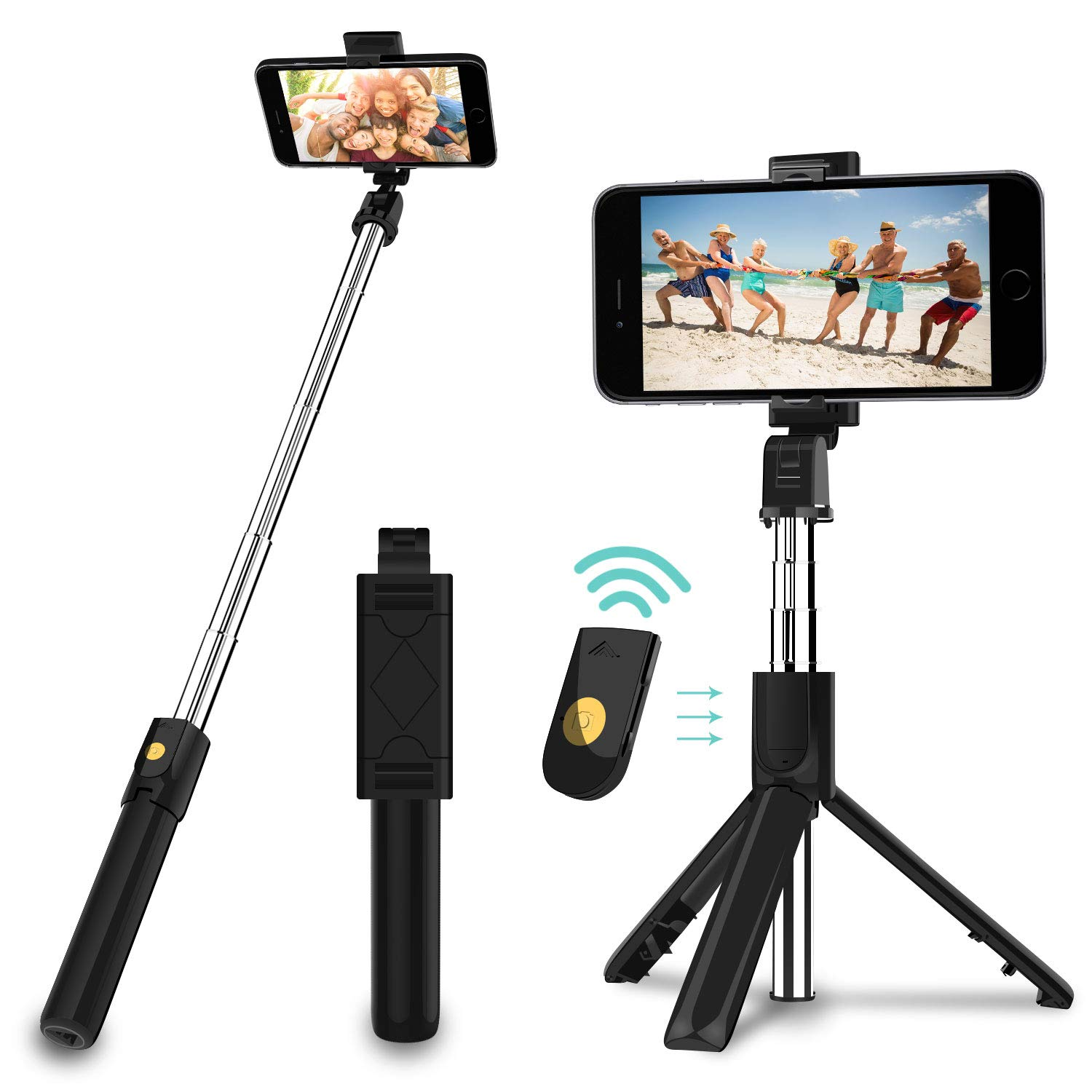 SYOSIN Selfie Stick, 3 in 1 Extendable Selfie Stick Tripod with Detachable Bluetooth Wireless Remote Phone Holder for iPhone Xs/iPhone 8/iPhone 7/7 Plus, Galaxy S10/S9 Plus/S8/Note8, LG, Google, More by SYOSIN