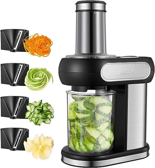 Compra Aicok - Cortador eléctrico de verduras en espiral con 4 cuchillas de acero inoxidable intercambiables, 1, 25 l, 100 W en Amazon.es