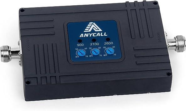 ANYCALL Amplificador Cobertura Movil 2G/3G/4G Tri-Banda Repetidor Señal Movil Mejorar la Red y Llamar 900/2100/2600MHz Soporte Movistar/Orange/Yoigo/Vodafone para Casa/Oficina: Amazon.es: Electrónica