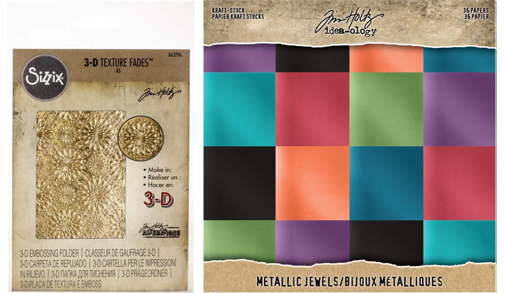 Tim Holtz Sizzix - Kaleidoscope 3D Embossing Folder and Idea-Ology Jewels Metallic Kraft Cardstock - 2 Items by Tim Holtz Sizzix