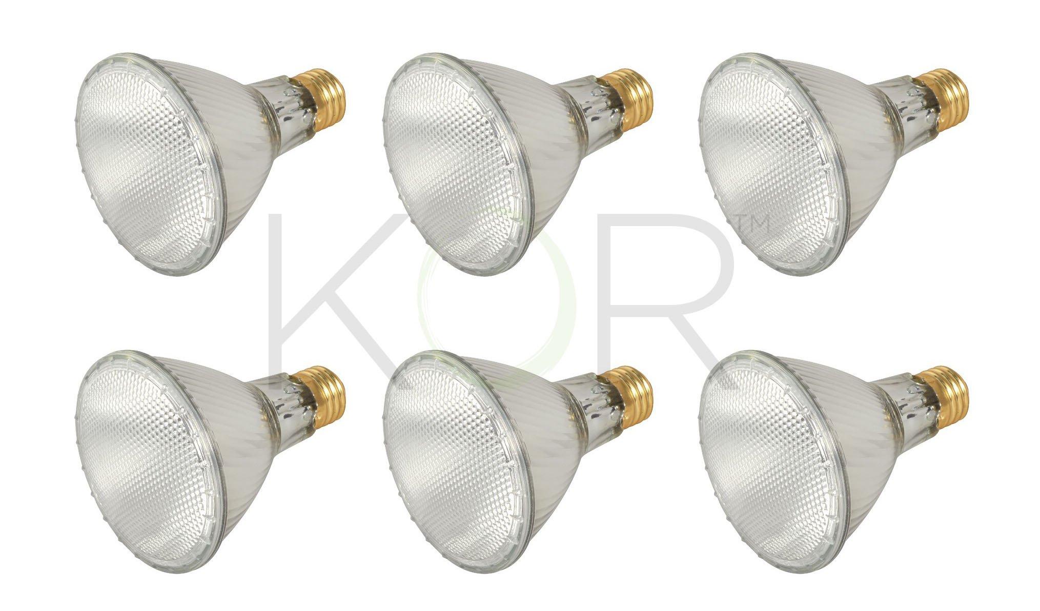 (Pack Of 6)60PAR30L/FL 120V - 60 Watt High Output (75W Replacement) PAR30 Long Neck Flood - 120 Volt Eco Halogen Light Bulbs - Dimmable - Indoor / Outdoor Use