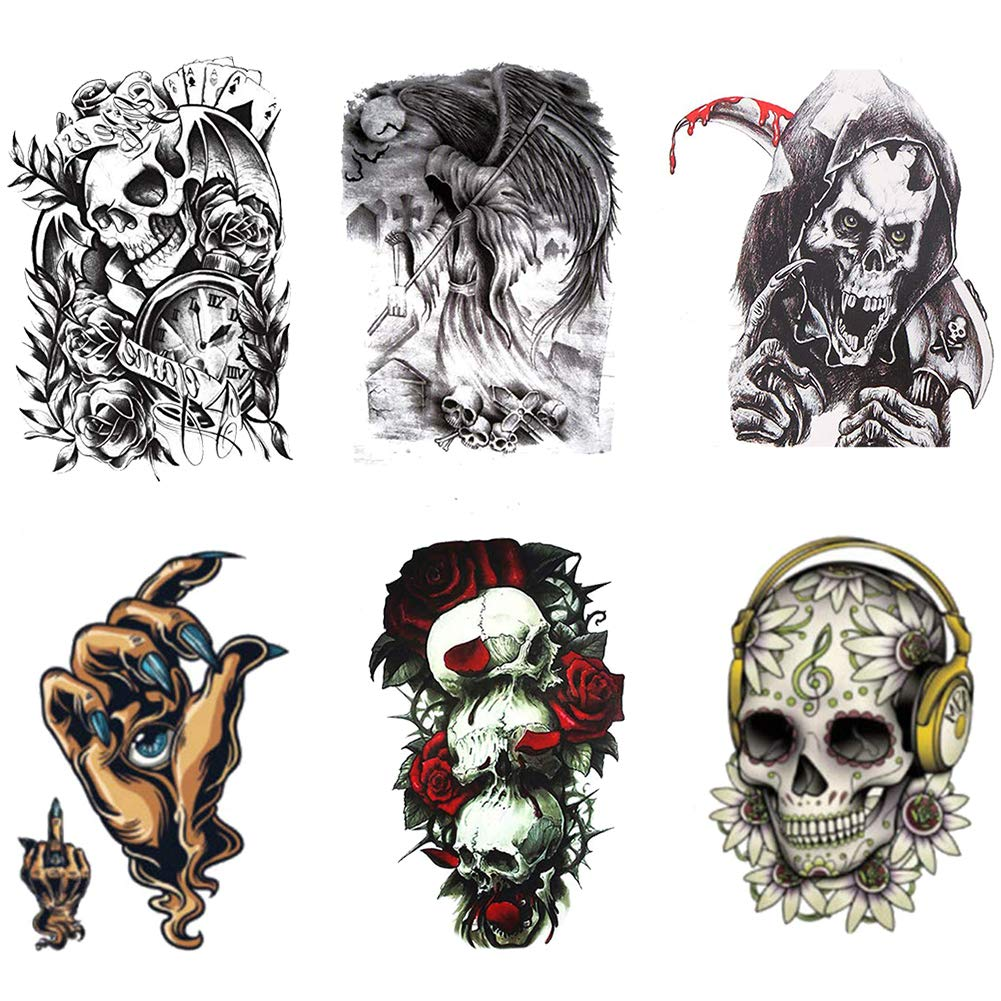 Amazon Com Temporary Tattoos Skull And Rose Big Fake Body Arm Chest Shoulder Tattoos For Men Women Boy Girls Beauty