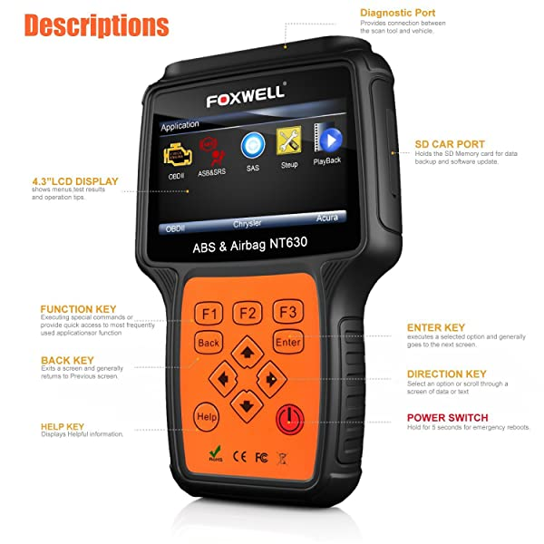 FOXWELL NT630 Plus is a professional diagnostic scan tool which embedded in Enhanced OBDII Mode 6 functionality.
