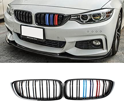 ABS JMY Front Kidney Grille Grill Gloss Black Dual Double Line for BMW 4 Series F32 F33 F36 F80 F82