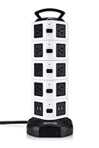 JACKYLED Electric Power Strip 18 Outlet Plugs with 4 USB Slot 6ft Cord Wire Extension Surge Protector Universal Socket Charging Station for PC etc