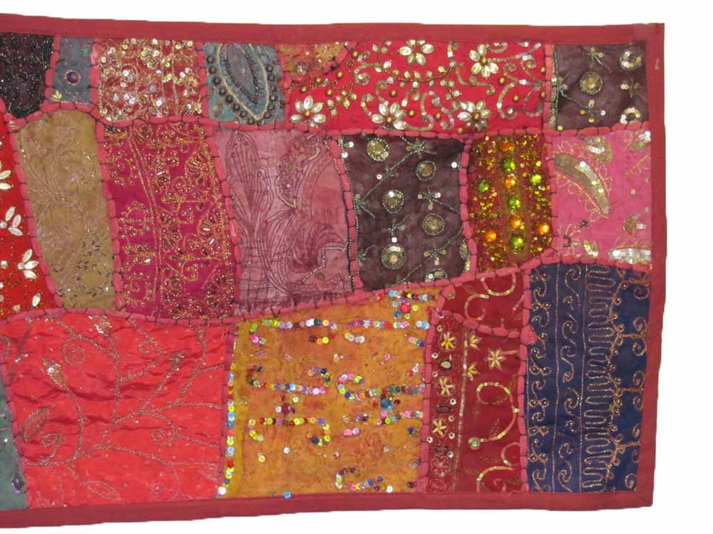 Indian Tapestry Kantha Zari Handmade Vintage Tribal Rajasthani Patchwork Tapestry Table Runner (Red Pink Tones) by Rajasthan Cottage (Image #2)