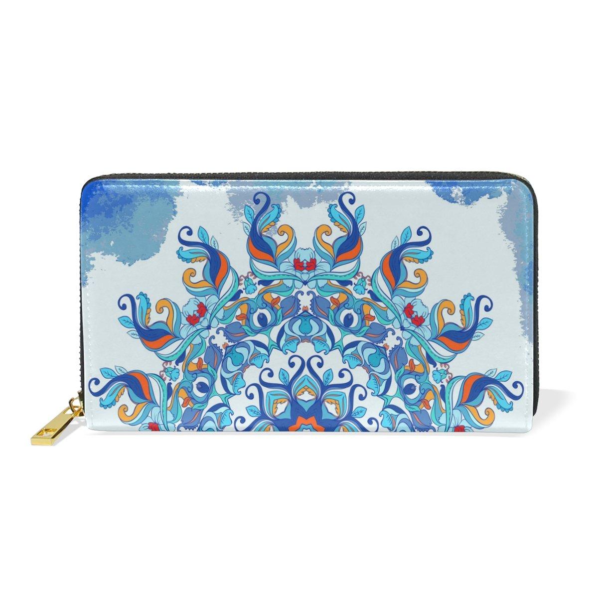 Women Genuine Leather Wallet bluee Pattern Zipper Purse Girl Phone Clutch