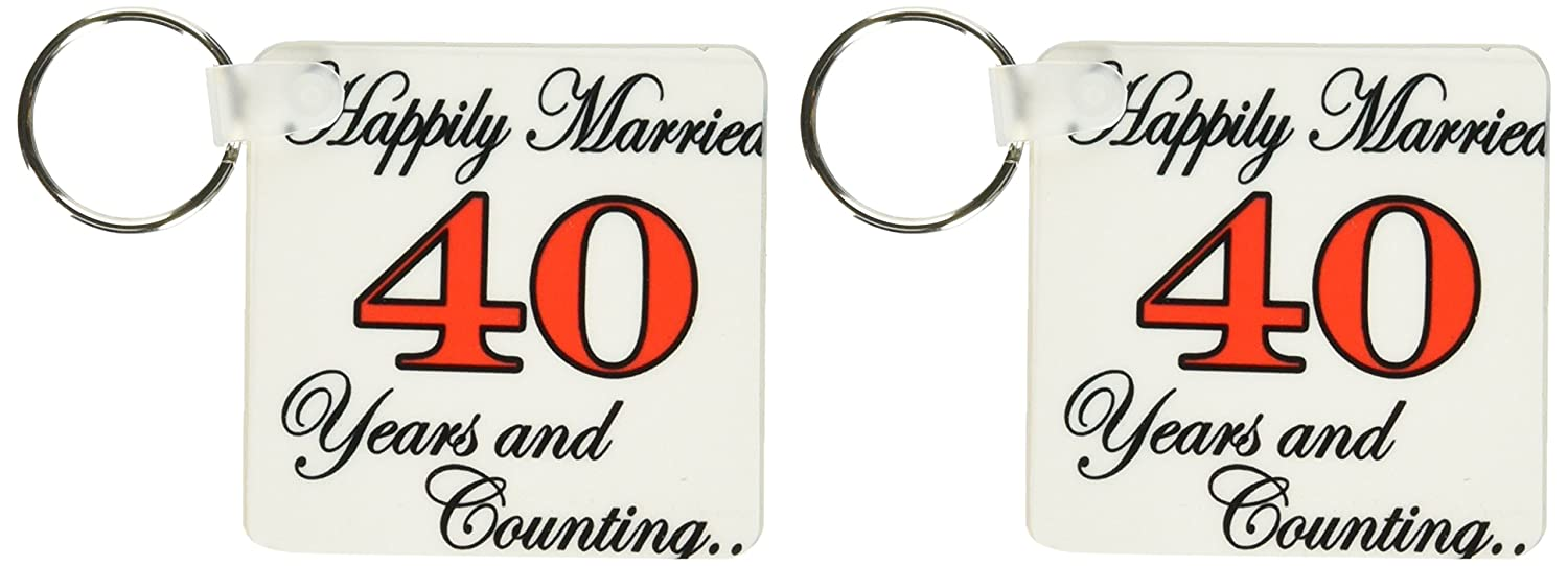 KC 193408 EvaDane – 引用 – Happily married 40 Years and Counting。レッド。 – キーチェーン B00YSOSR8G  set of 2