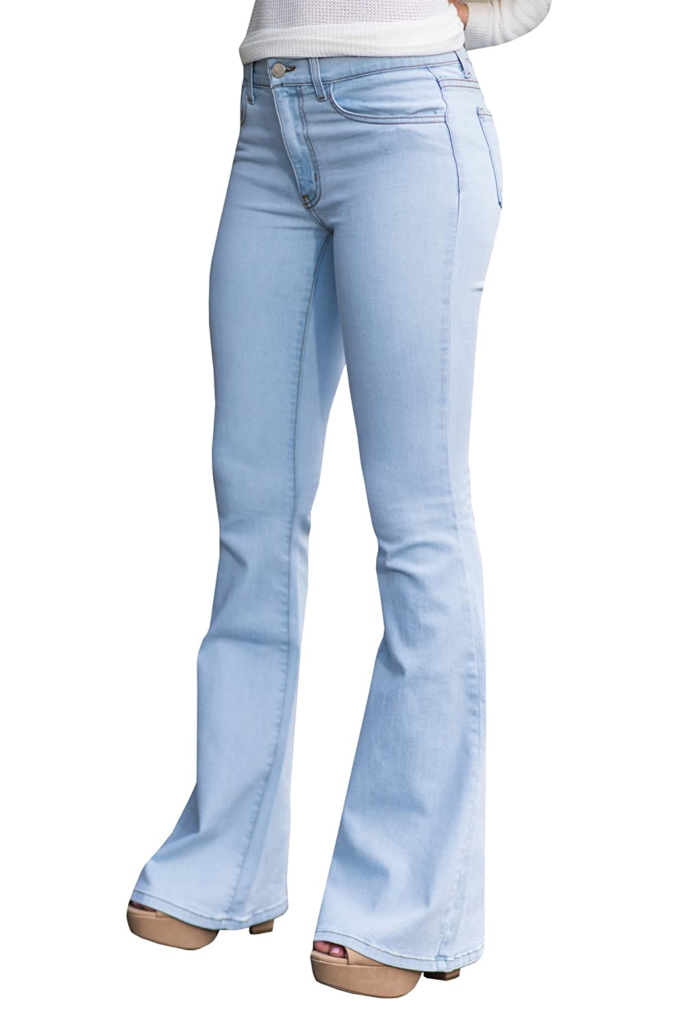 639b09607912f Younger-looking   Fashionable style  Syktkmx women s high waisted flare  jeans with elegant fashion element make you look younger and more sexy.