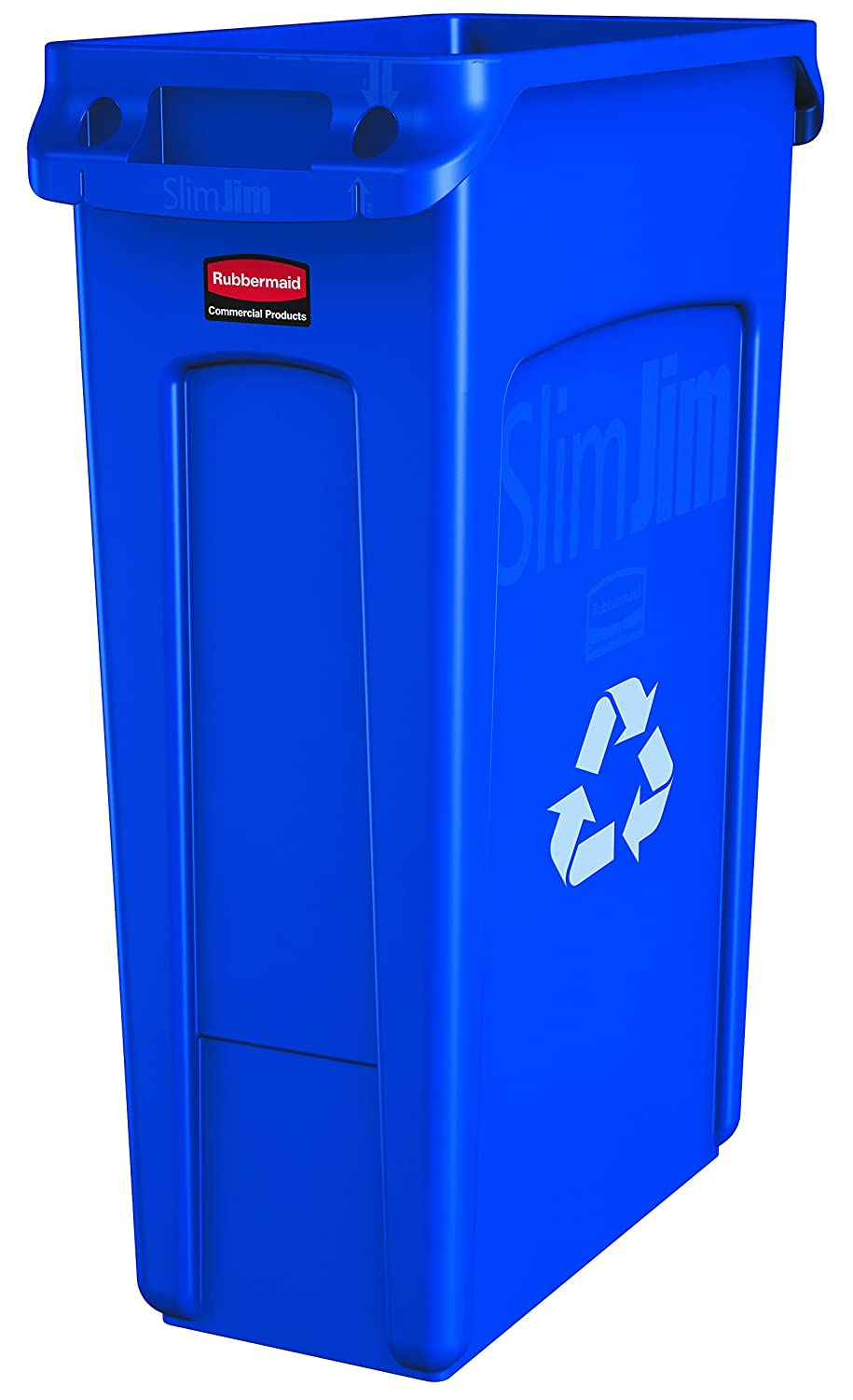Rubbermaid Commercial Products Slim Jim Recycling Container with Venting Channels, Plastic, 23 Gallons, Blue with Recycling Logo (FG354007BLUE)